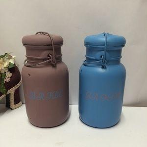 Set of BRIDE & GROOM Hand Painted Mason Jars